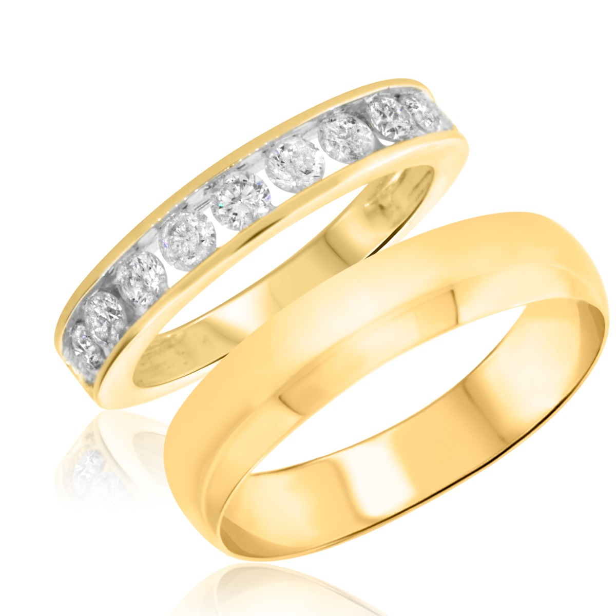 7/8 Carat T.W. Round Cut Diamond His and Hers Wedding Band Set 10K Yellow Gold
