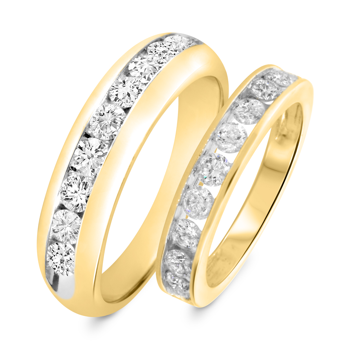 1 7/8 Carat T.W. Round Cut Diamond His and Hers Wedding Band Set 14K Yellow Gold
