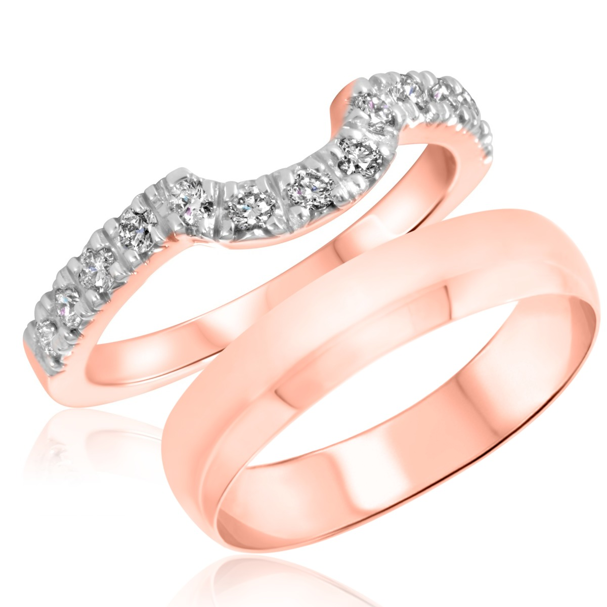 3/8 Carat T.W. Round Cut Diamond His and Hers Wedding Band Set 14K Rose Gold