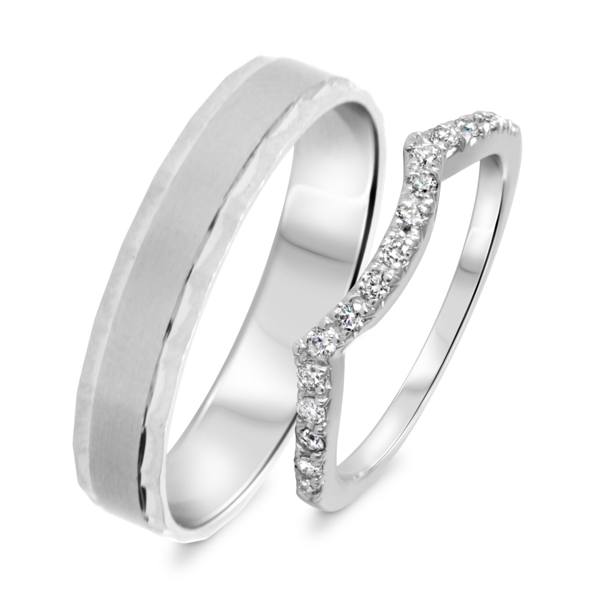 1/3 Carat T.W. Round Cut Diamond His And Hers Wedding Band Set 14K White Gold