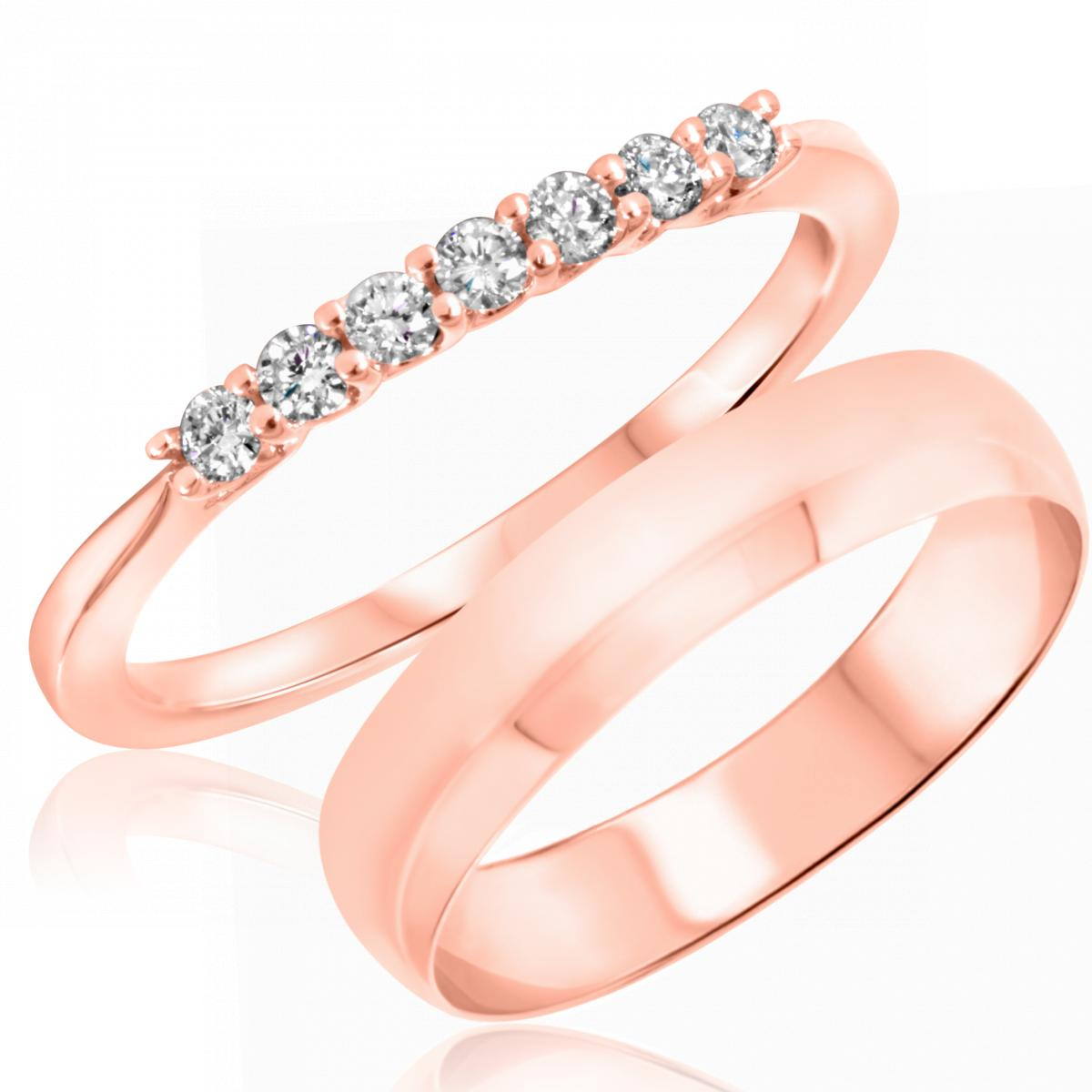 1/5 Carat T.W. Round Cut Diamond His and Hers Wedding Band Set 10K Rose Gold