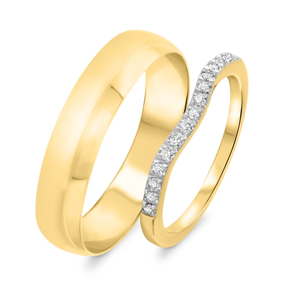 1/8 Carat T.W. Round Cut Diamond His And Hers Wedding Band Set 14K Yellow Gold