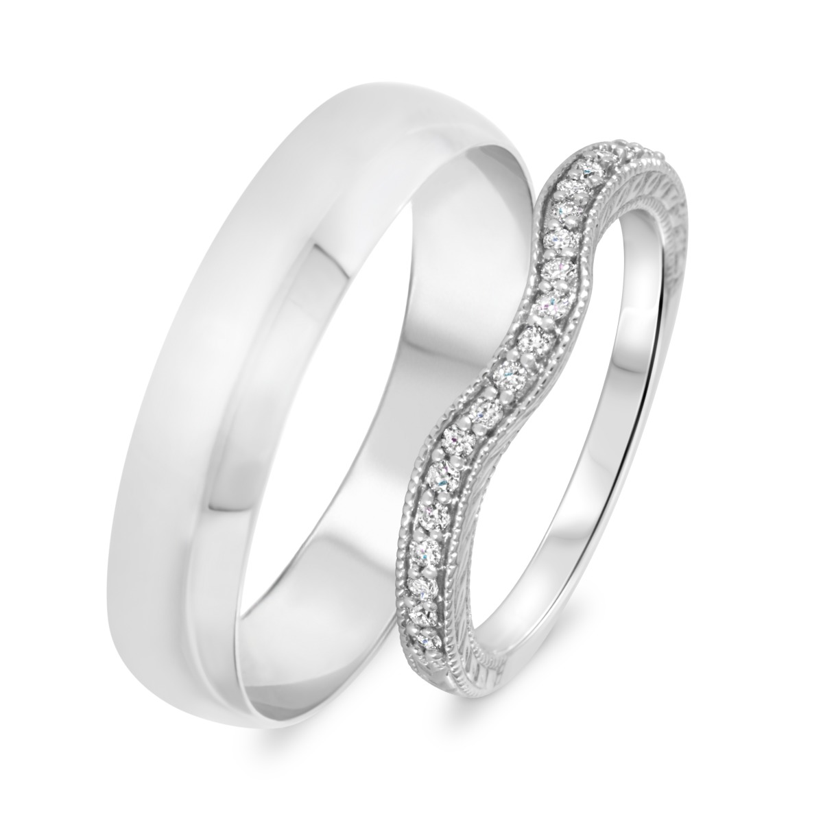 1/6 Carat T.W. Round Cut Diamond His And Hers Wedding Band Set 14K White Gold