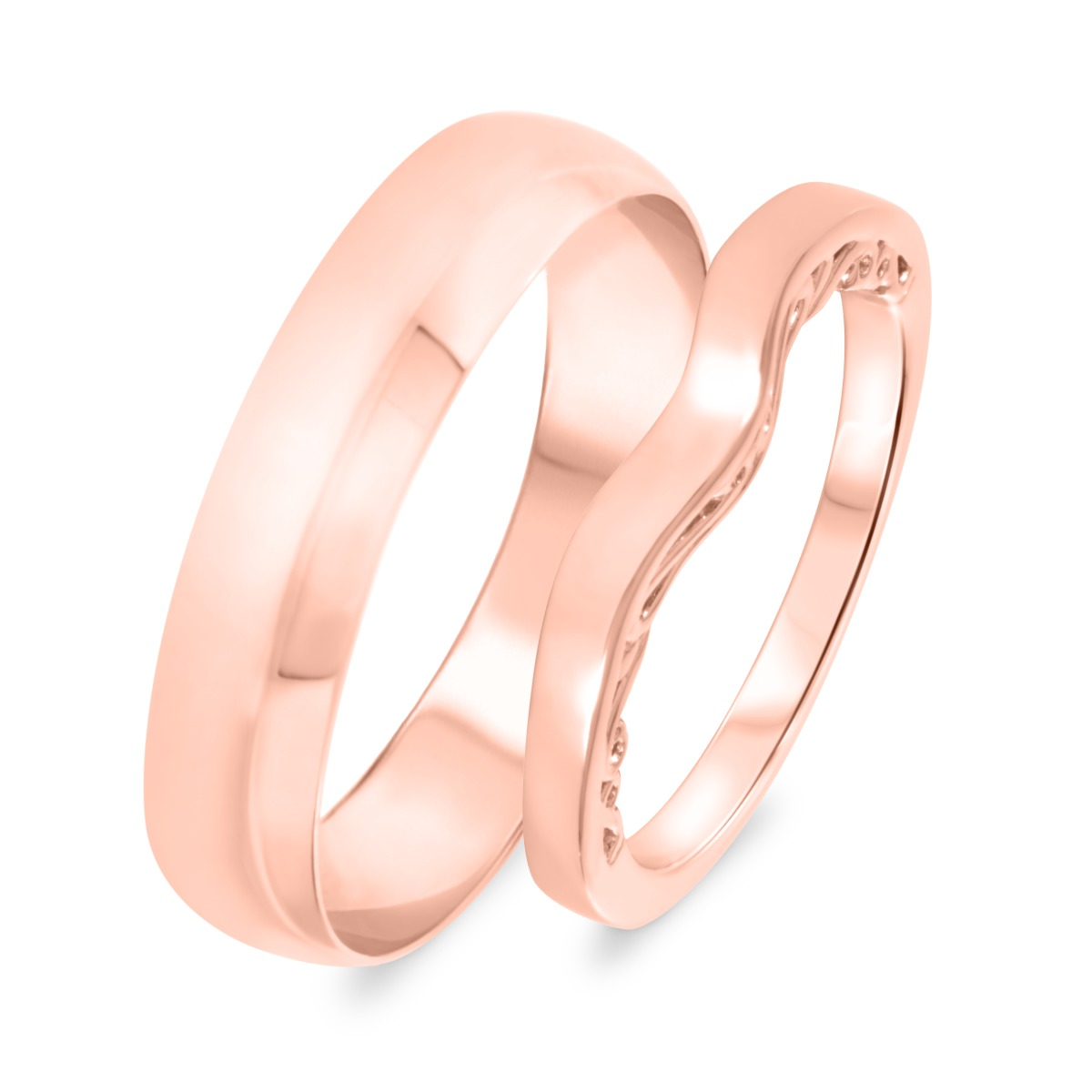 Wedding Band Set 14K Rose Gold