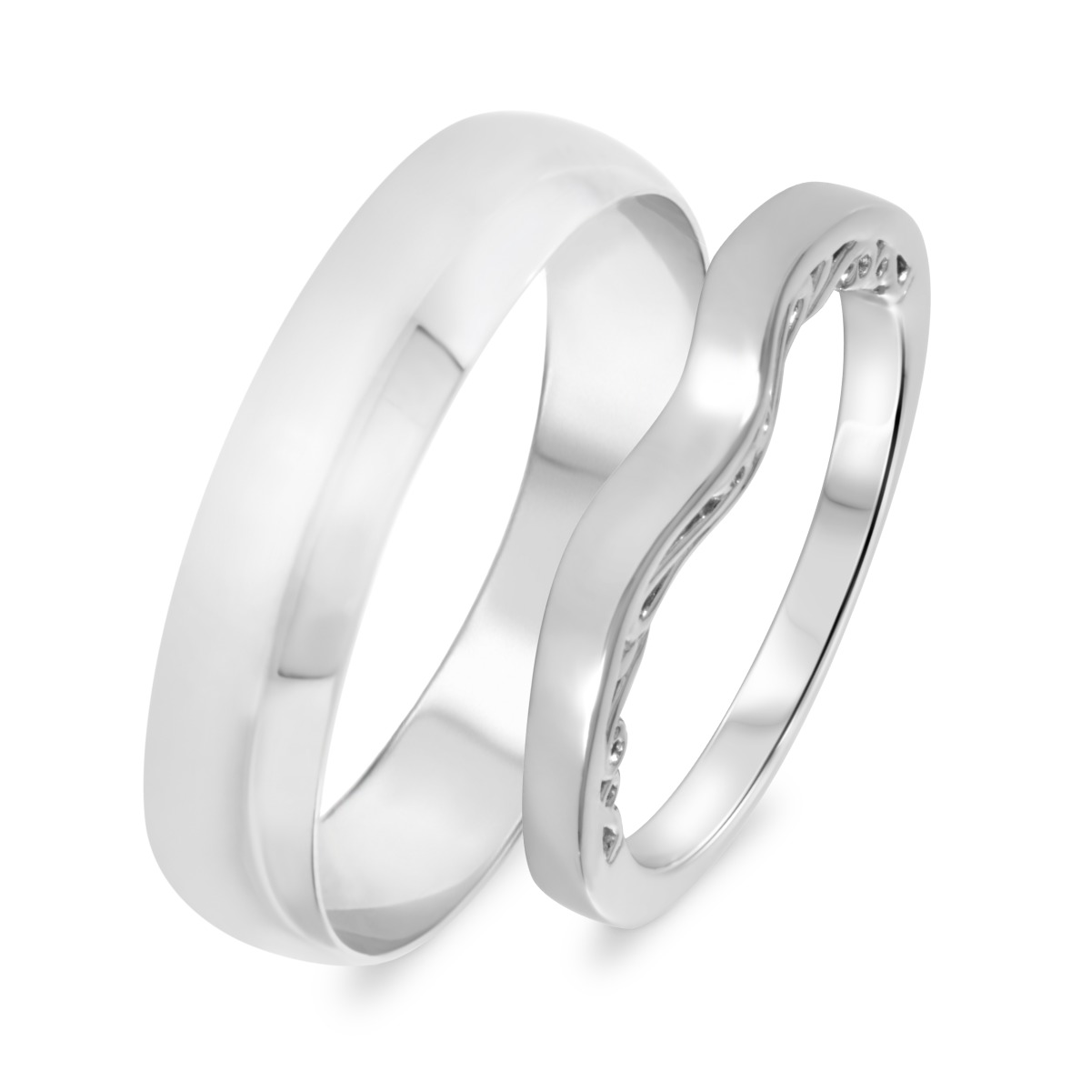 Wedding Band Set 14K White Gold