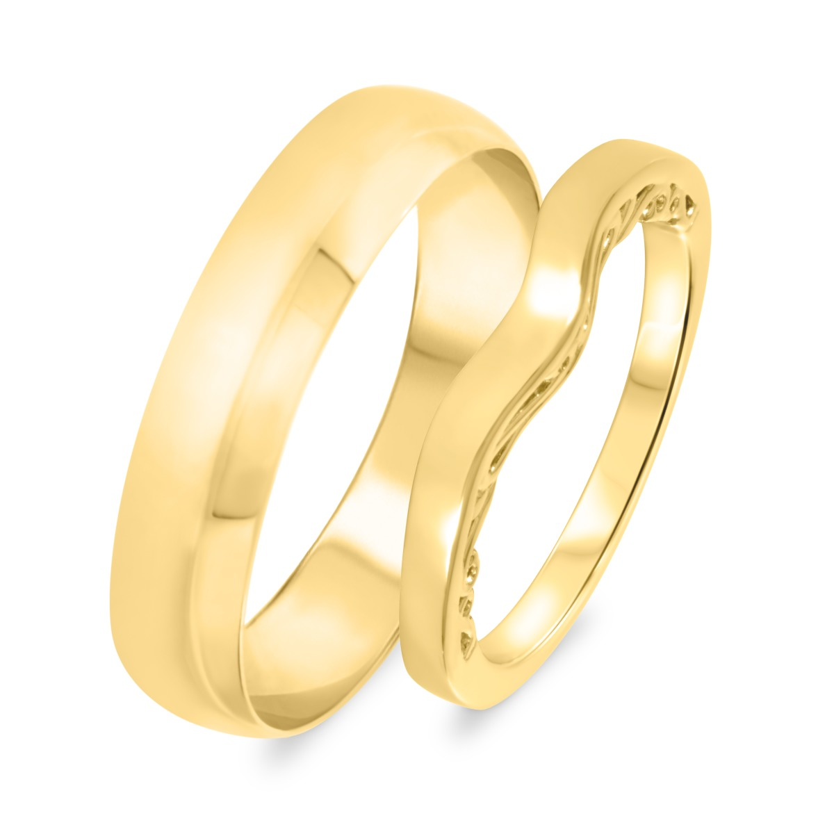 Wedding Band Set 10K Yellow Gold