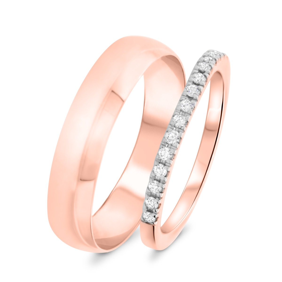 1/5 Carat T.W. Round Cut Diamond His and Hers Wedding Band Set 14K Rose Gold