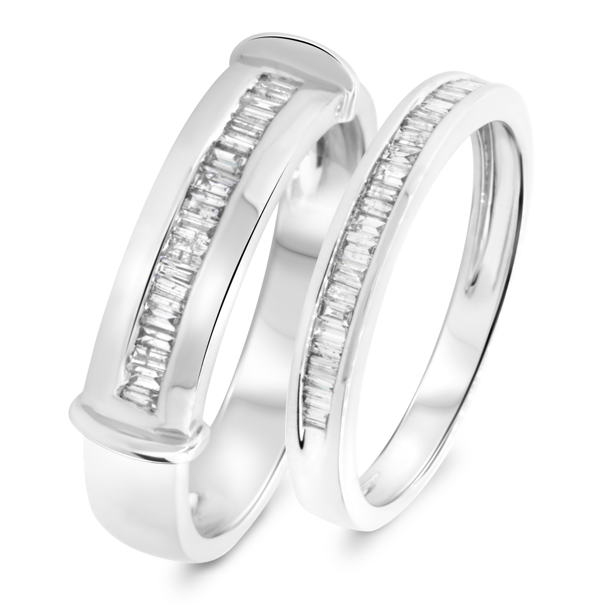 1/2 Carat T.W. Baguette Cut Diamond His and Hers Wedding Band Set 14K White Gold