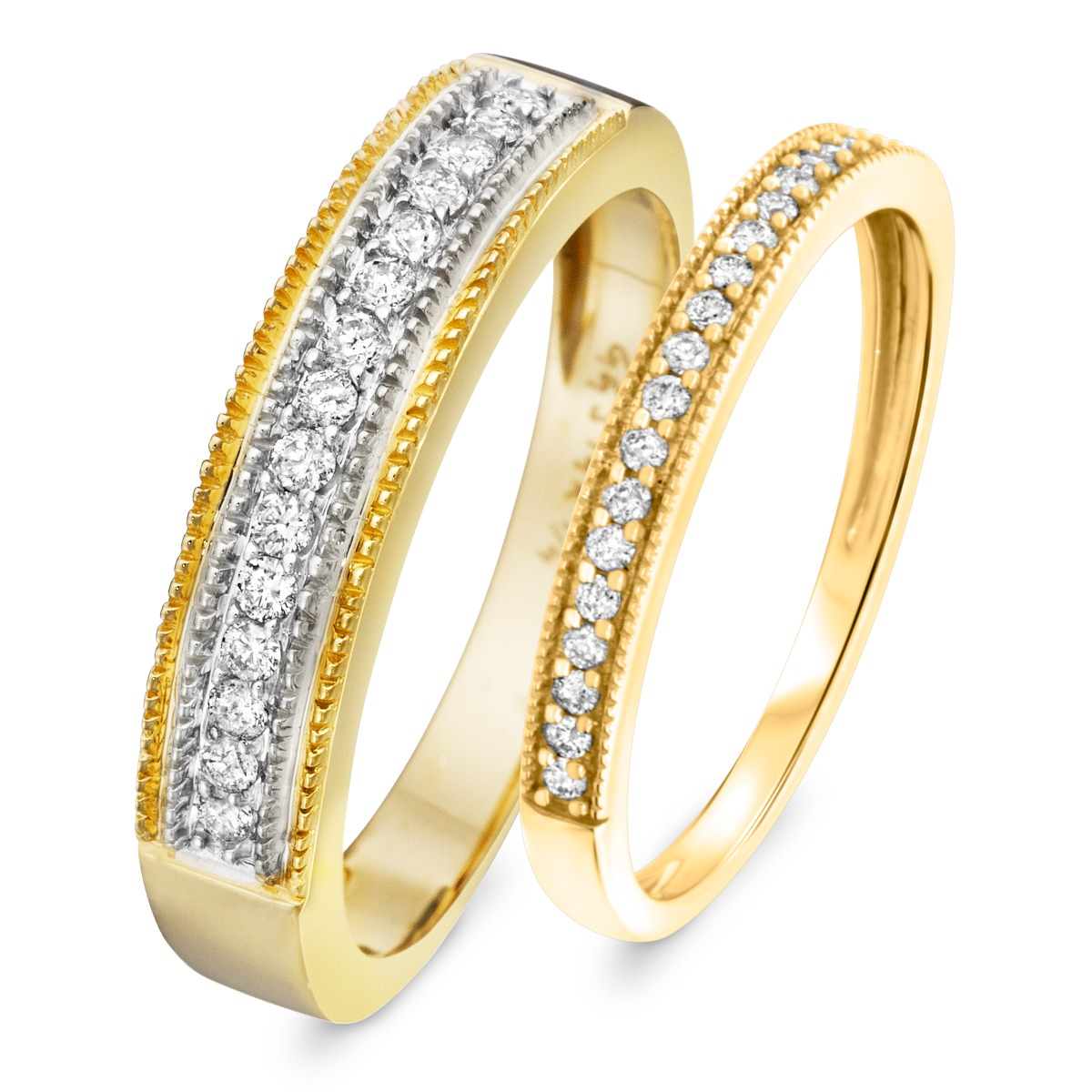 3/8 Carat T.W. Round Cut Diamond His and Hers Wedding Band Set 10K Yellow Gold