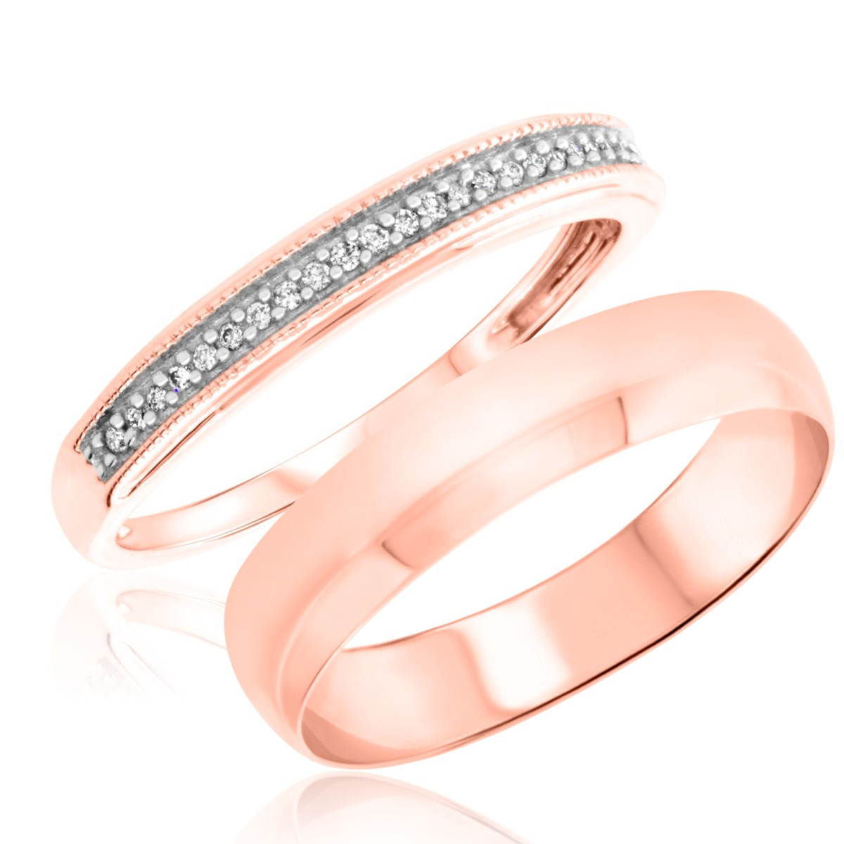 1/10 Carat T.W. Round Cut Diamond His and Hers Wedding Band Set 14K Rose Gold