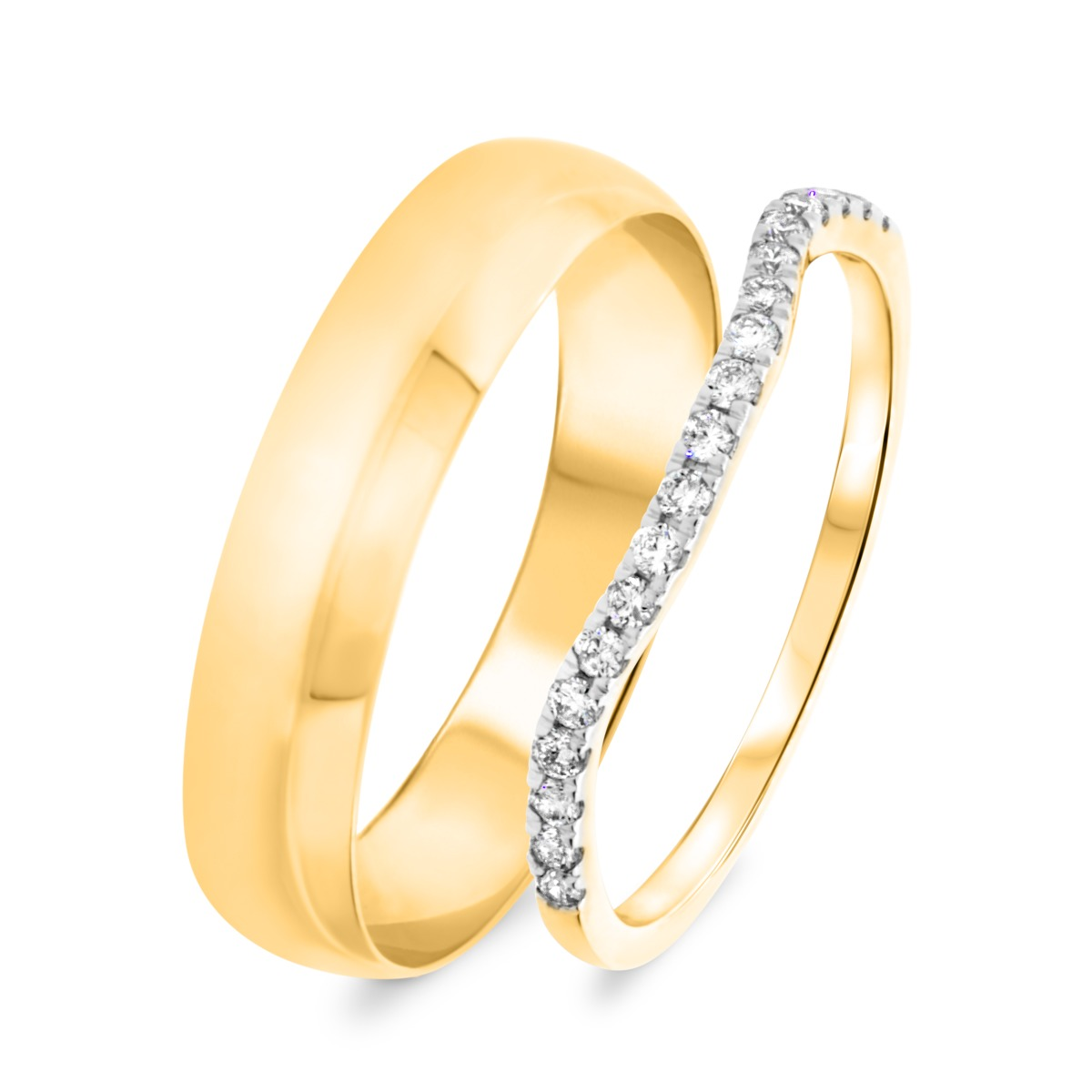 1/5 Carat T.W. Round Cut Diamond His and Hers Wedding Band Set 10K Yellow Gold