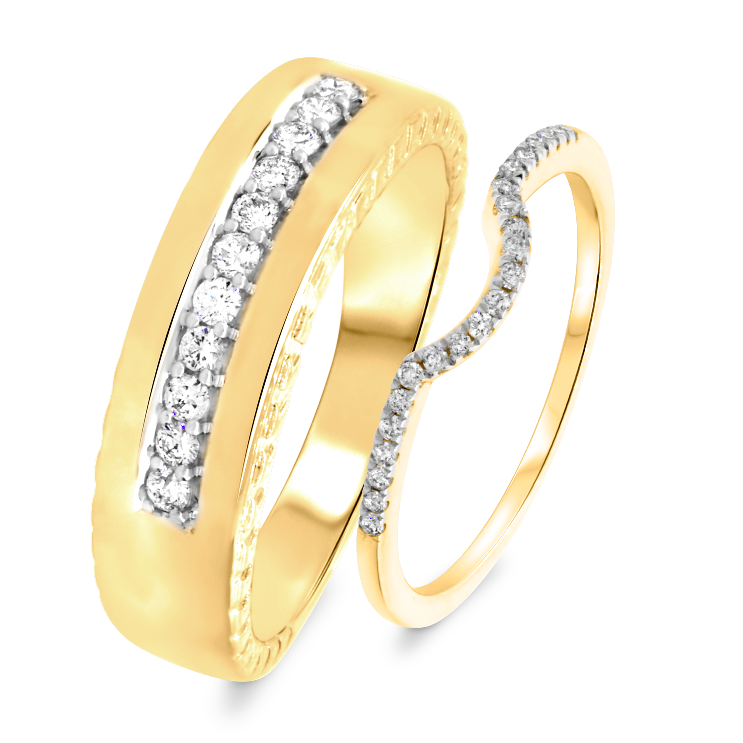 1/3 Carat T.W. Round Cut Diamond His and Hers Wedding Band Set 14K Yellow Gold