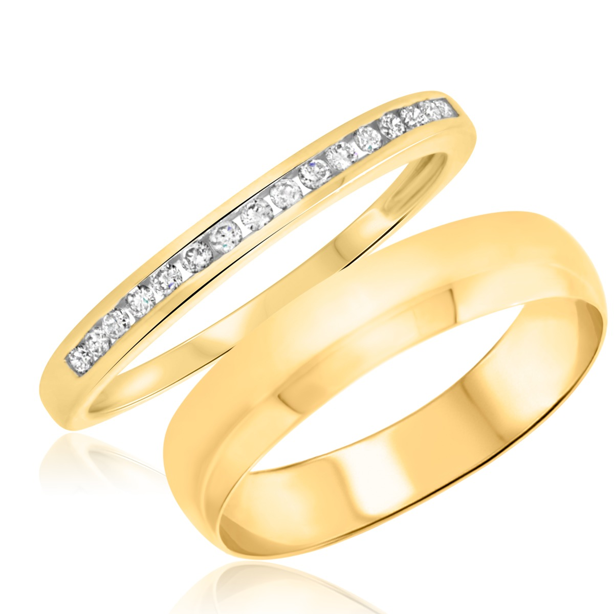 1/7 Carat T.W. Round Cut Diamond His and Hers Wedding Band Set 14K Yellow Gold