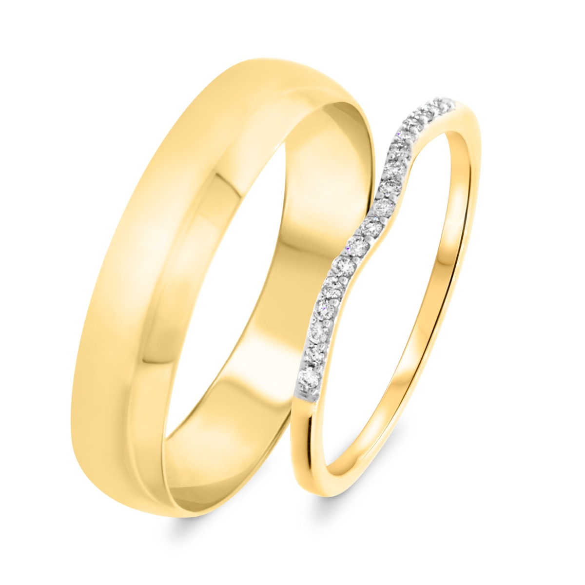 1/10 Carat T.W. Round Cut Diamond His and Hers Wedding Band Set 10K Yellow Gold
