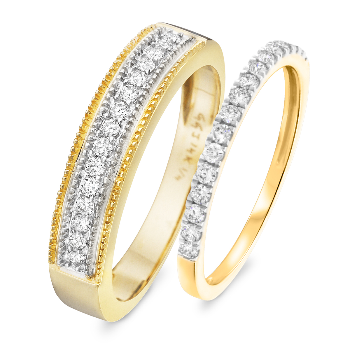 1/2 Carat T.W. Round Cut Diamond His and Hers Wedding Band Set 10K Yellow Gold