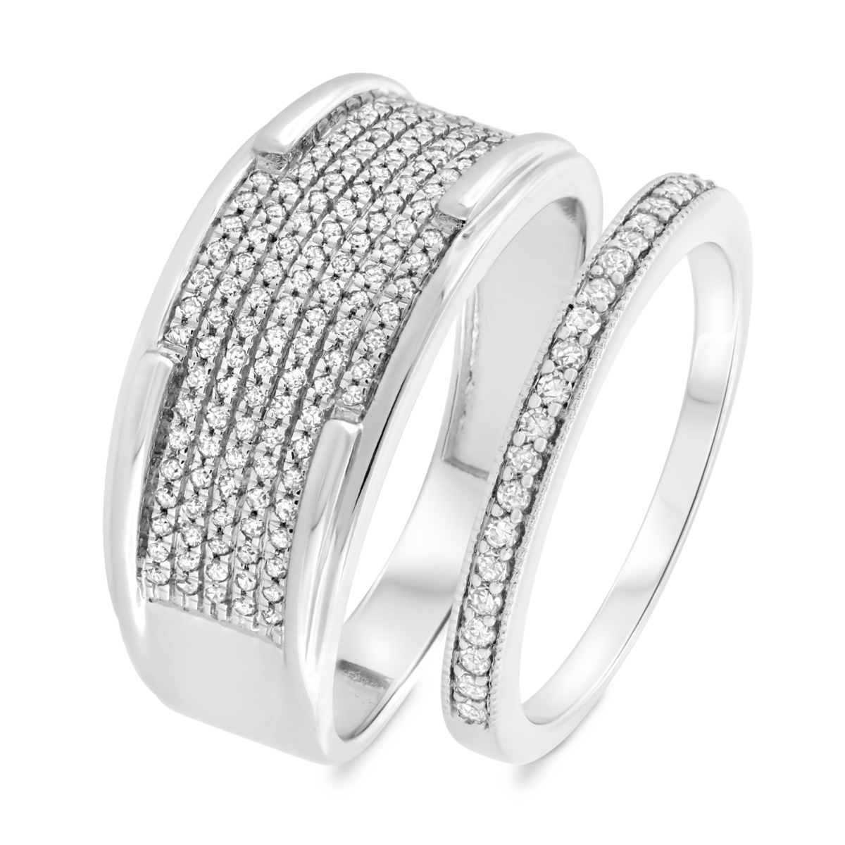 1/2 Carat T.W. Diamond Matching Wedding Band Set 14K White Gold