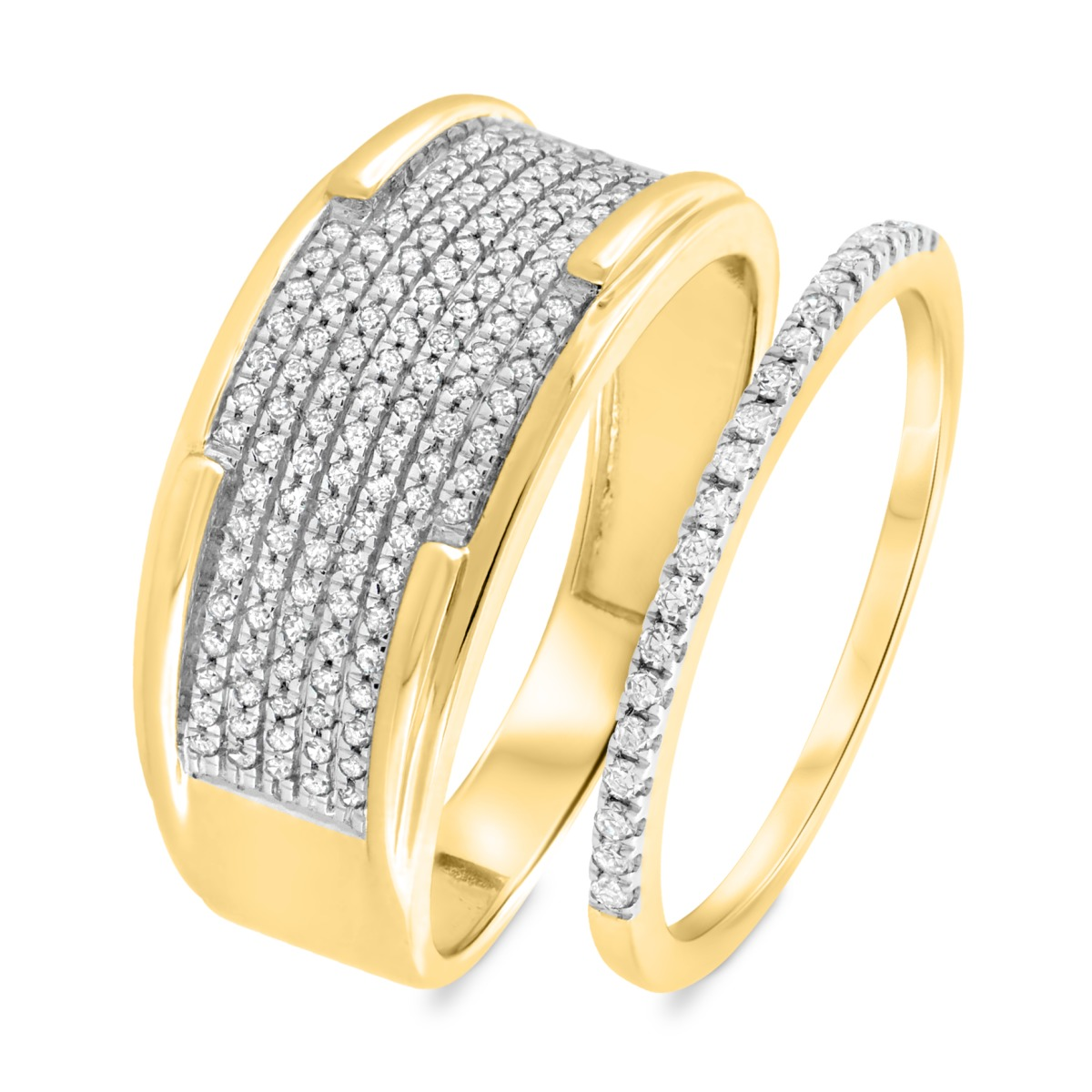 1/2 CT. T.W. Diamond Matching Wedding Band Set 10K Yellow Gold