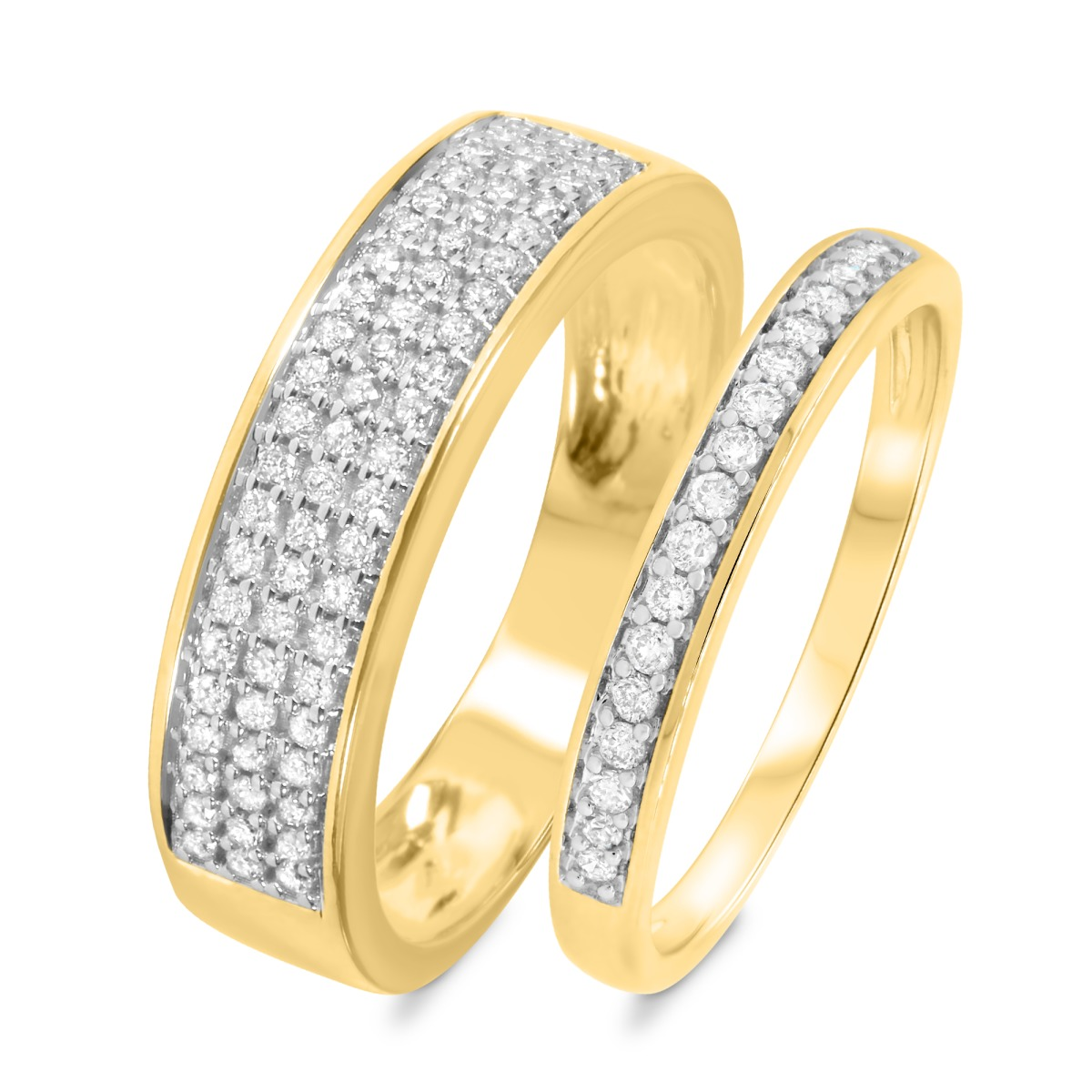3/8 Carat T.W. Diamond Matching Wedding Band Set 14K Yellow Gold