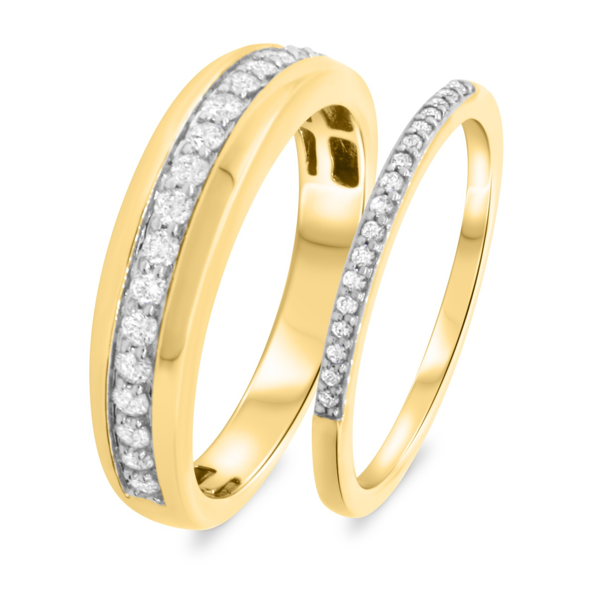 1/2 CT. T.W. Diamond Matching Wedding Band Set 14K Yellow Gold
