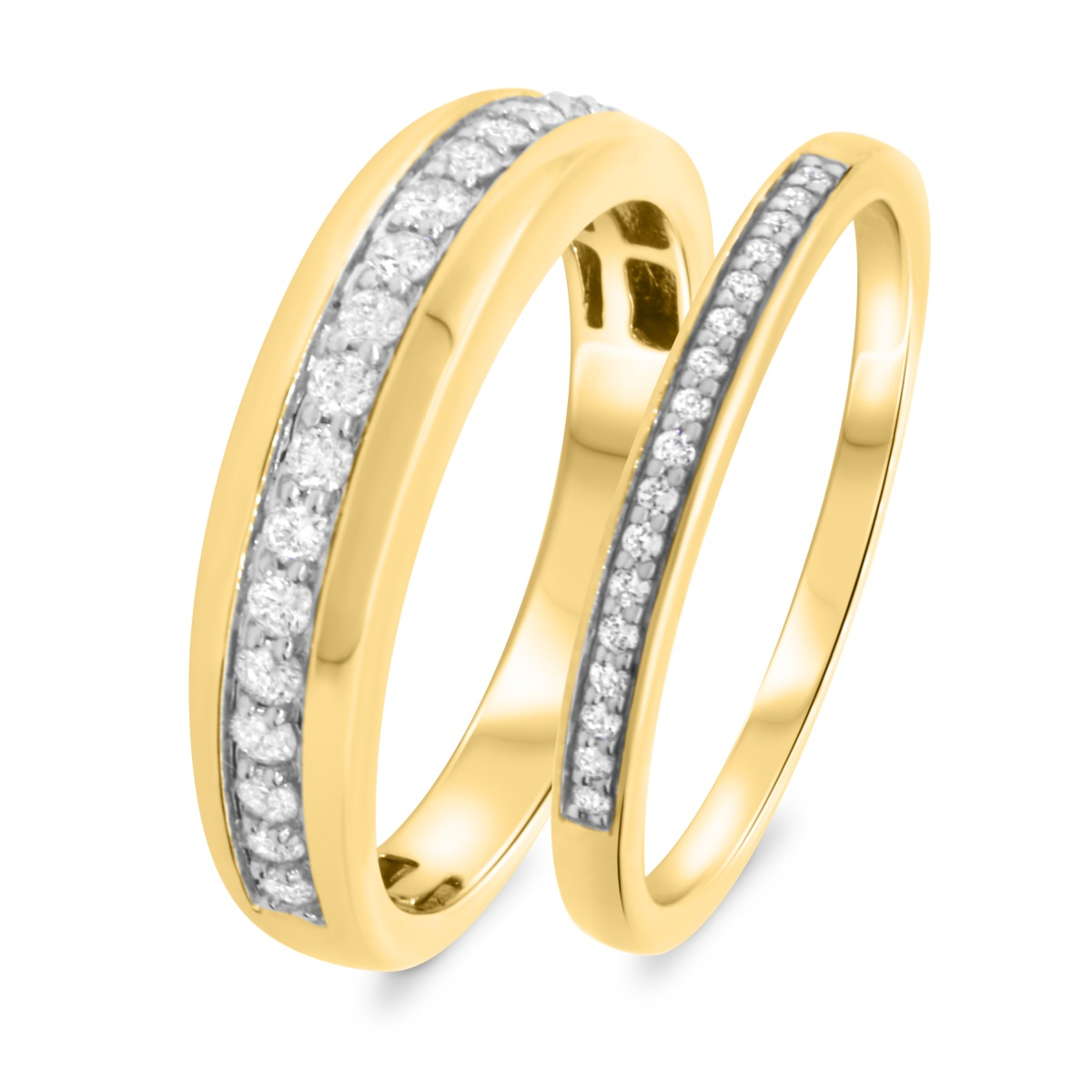 5/8 CT. T.W. Diamond Matching Wedding Band Set 14K Yellow Gold