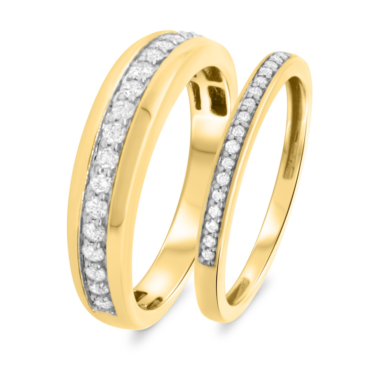 1/2 Carat T.W. Diamond Matching Wedding Band Set 14K Yellow Gold