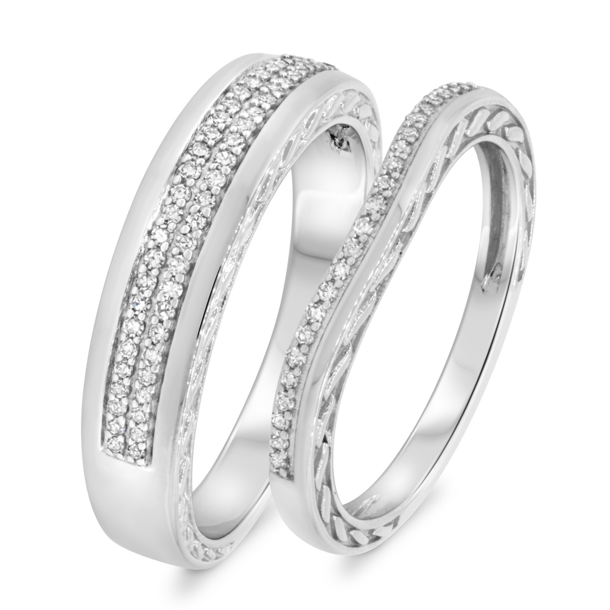 1/3 CT. T.W. Diamond Matching Wedding Band Set 10K White Gold