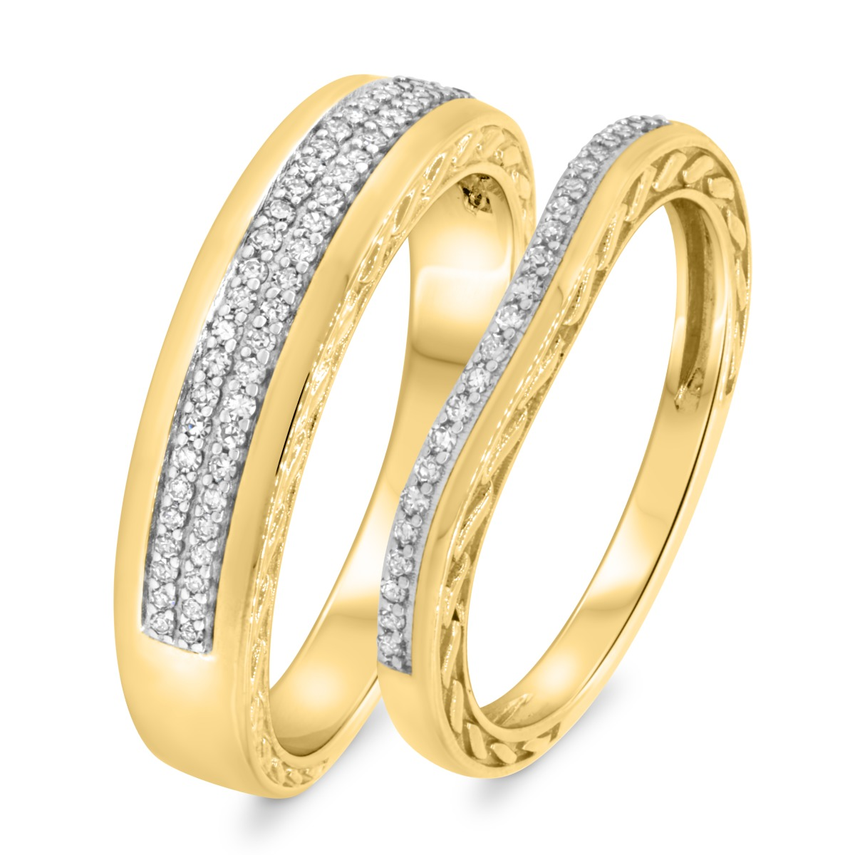1/3 CT. T.W. Diamond Matching Wedding Band Set 10K Yellow Gold