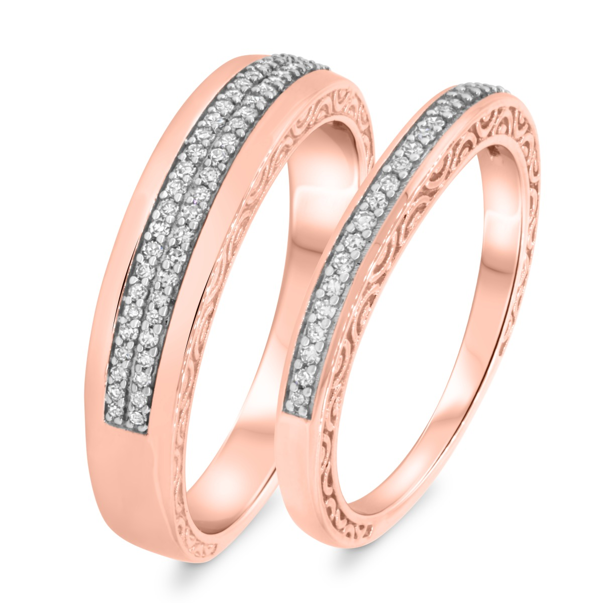 1/3 Carat T.W. Diamond Matching Wedding Band Set 14K Rose Gold
