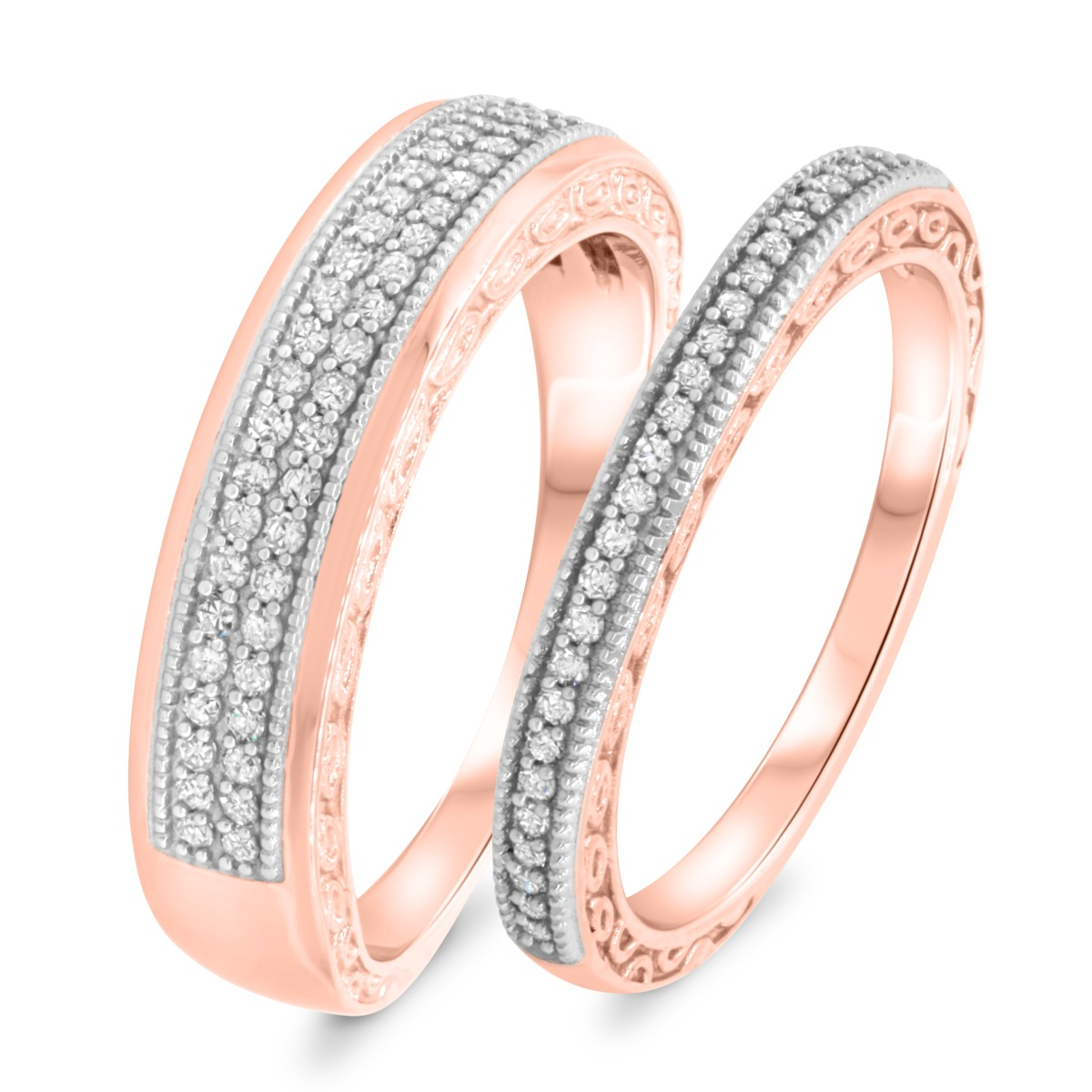 3/8 Carat T.W. Diamond Matching Wedding Band Set 14K Rose Gold