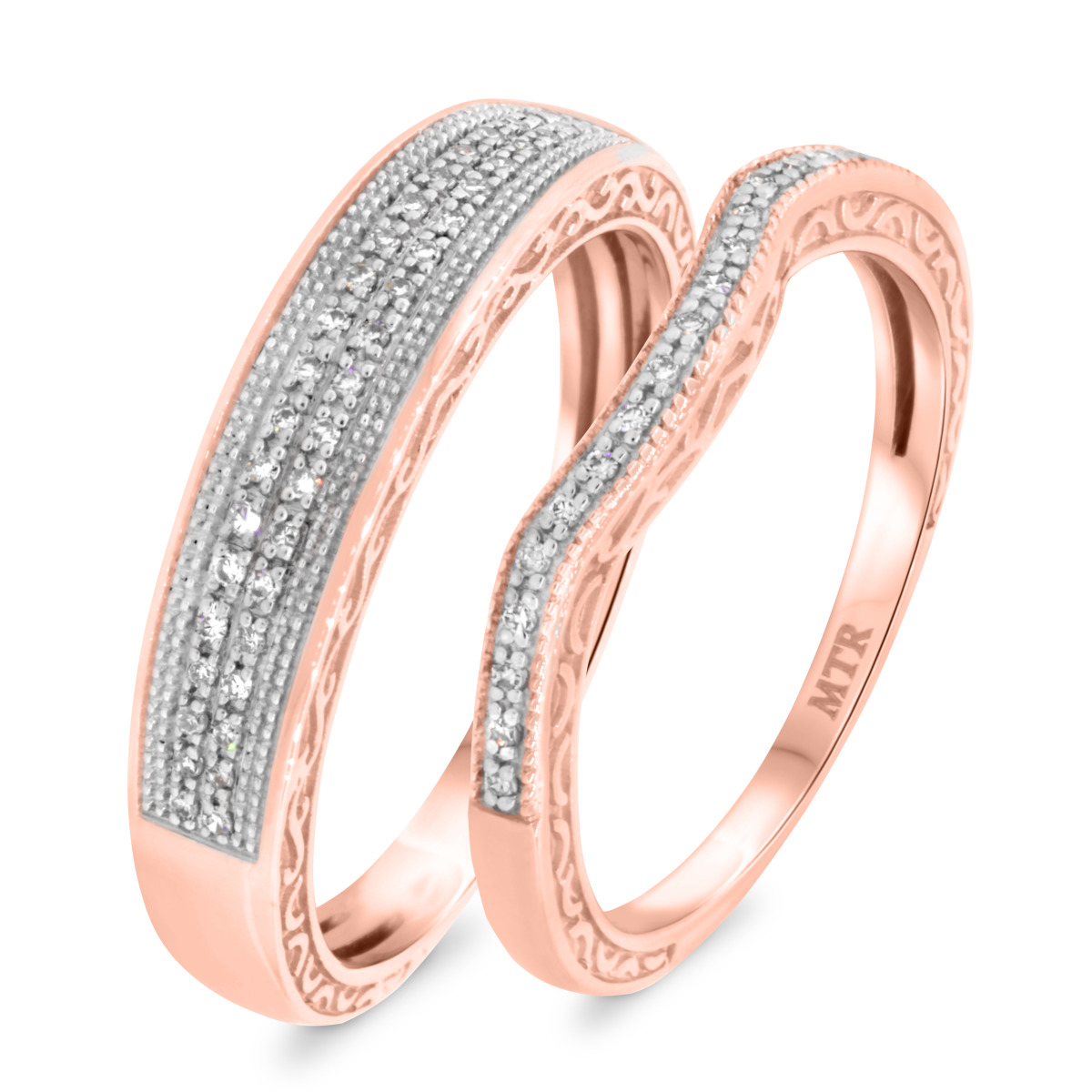 1/4 CT. T.W. Diamond Matching Wedding Band Set 14K Rose Gold