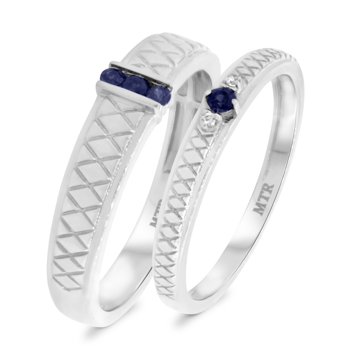 1/7 CT. T.W. Sapphire Matching Wedding Band Set 10K White Gold