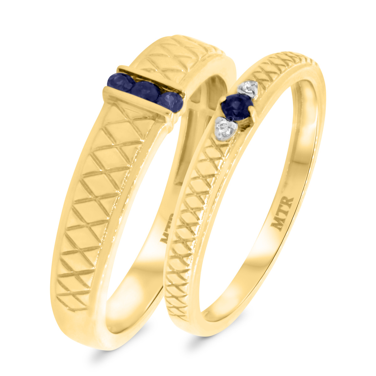 1/7 Carat T.W. Sapphire Matching Wedding Band Set 10K Yellow Gold
