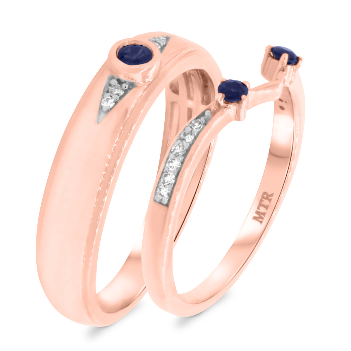 1/3 CT. T.W. Sapphire Matching Wedding Band Set 10K Rose Gold