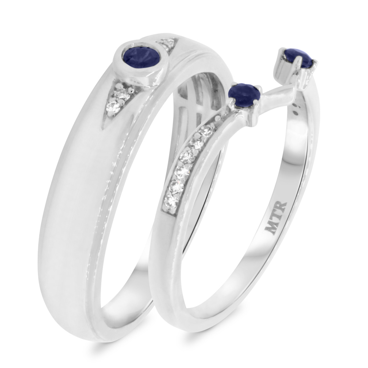 1/3 CT. T.W. Sapphire Matching Wedding Band Set 10K White Gold