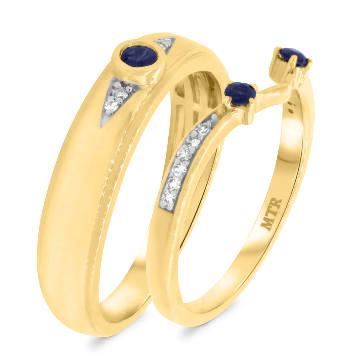1/3 Carat T.W. Sapphire Matching Wedding Band Set 10K Yellow Gold