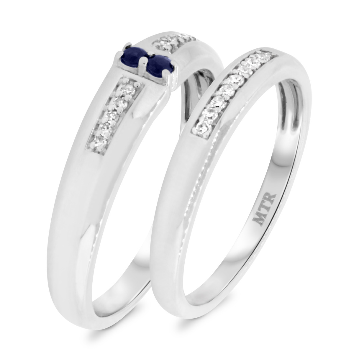 1/5 CT. T.W. Sapphire Matching Wedding Band Set 10K White Gold