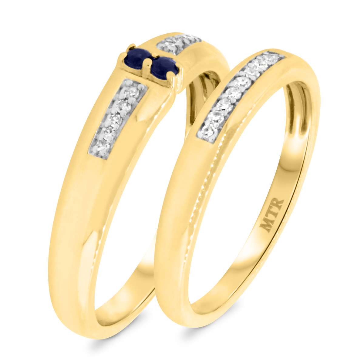 1/5 Carat T.W. Sapphire Matching Wedding Band Set 10K Yellow Gold