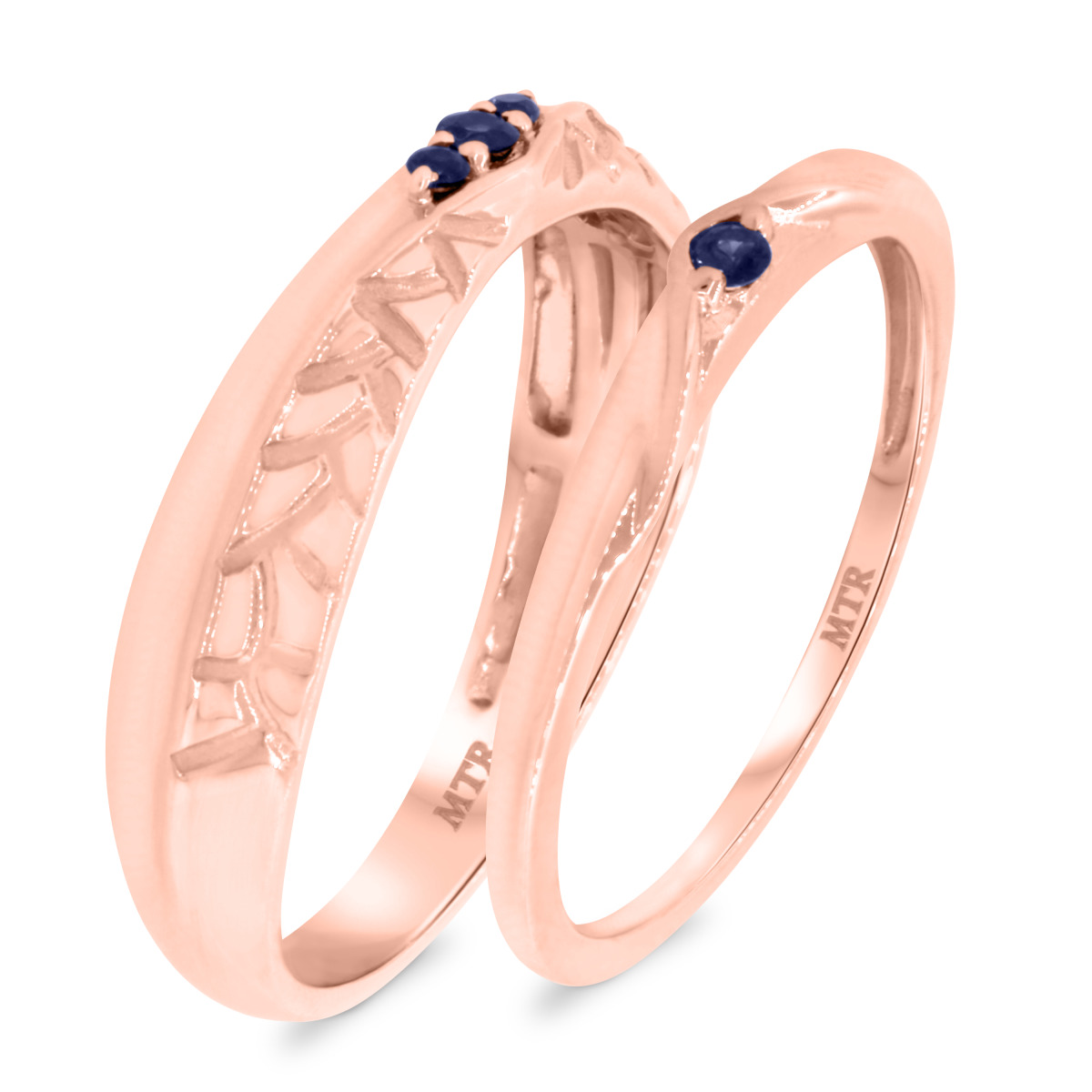 1/6 Carat T.W. Sapphire Matching Wedding Band Set 10K Rose Gold