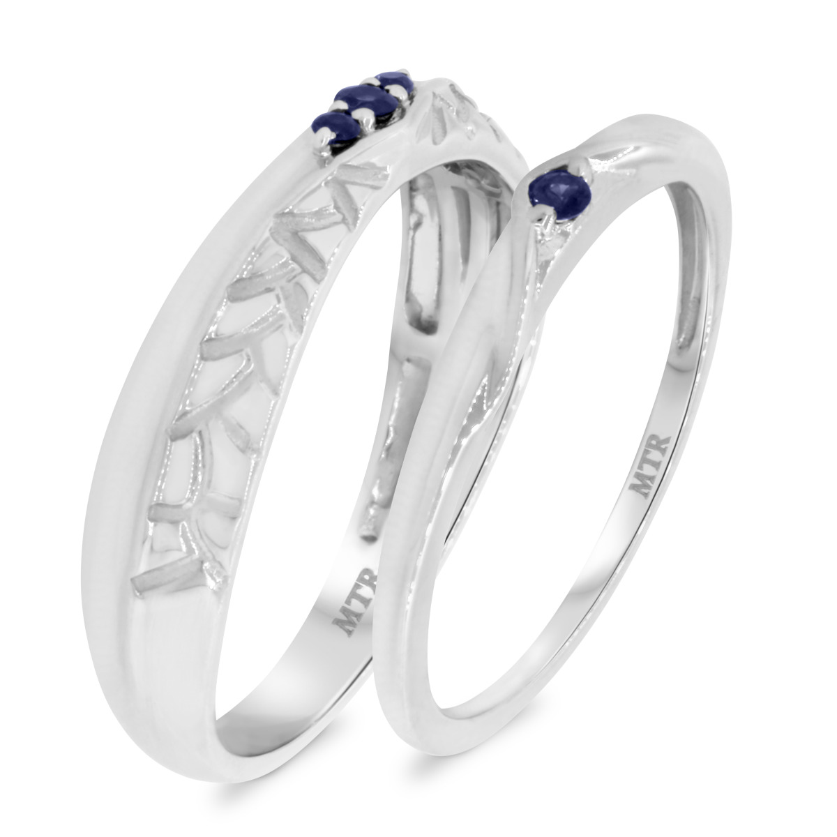 1/6 Carat T.W. Sapphire Matching Wedding Band Set 14K White Gold