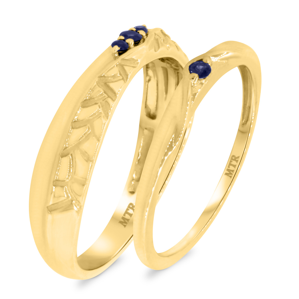 1/6 CT. T.W. Sapphire Matching Wedding Band Set 10K Yellow Gold