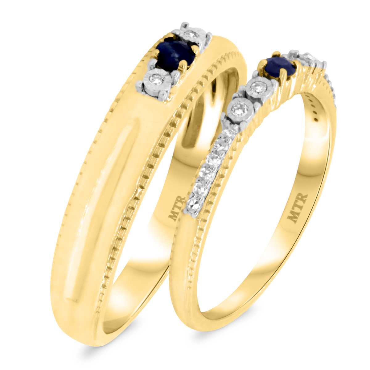 1/3 Carat T.W. Sapphire Matching Wedding Band Set 14K Yellow Gold