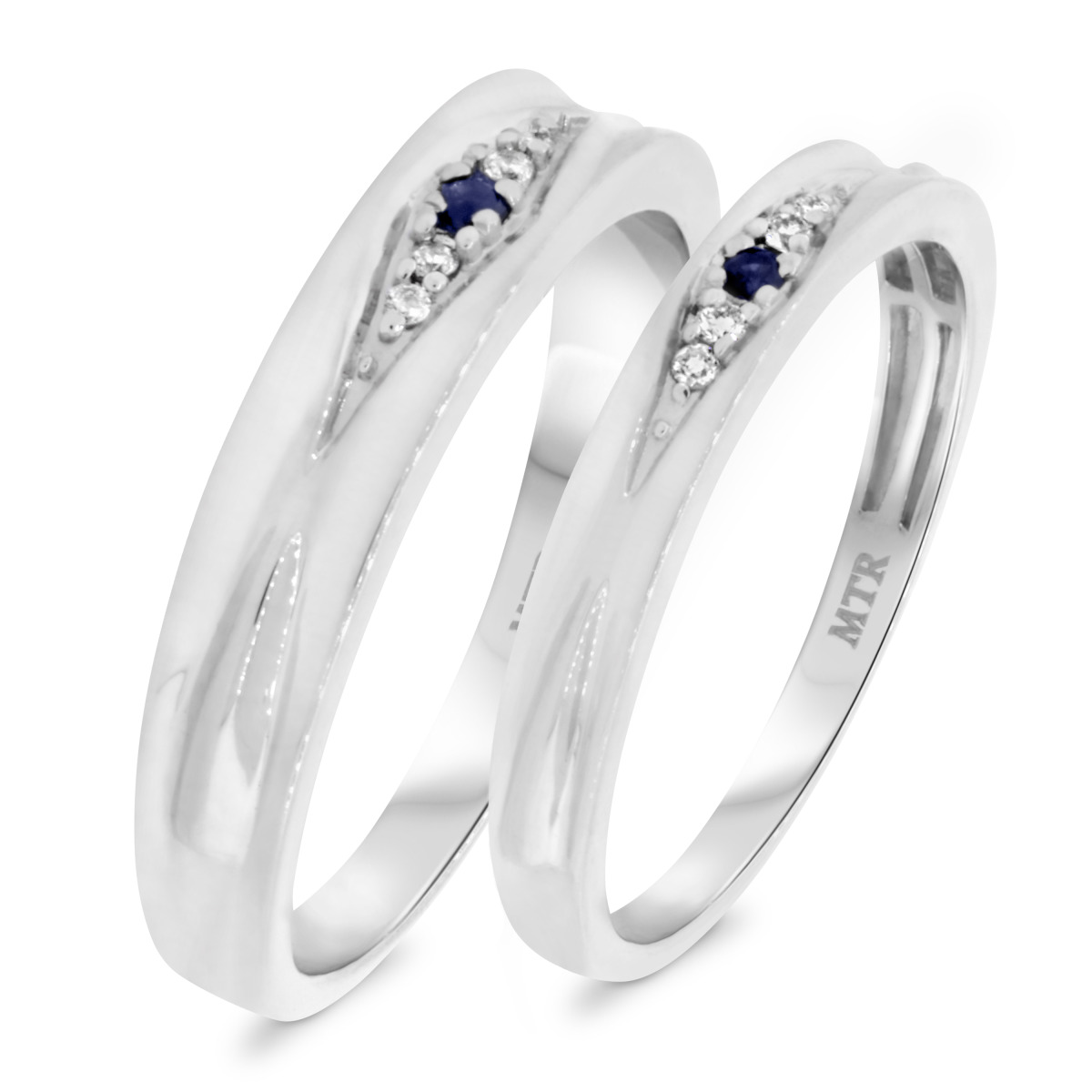 1/8 CT. T.W. Sapphire Matching Wedding Band Set 10K White Gold