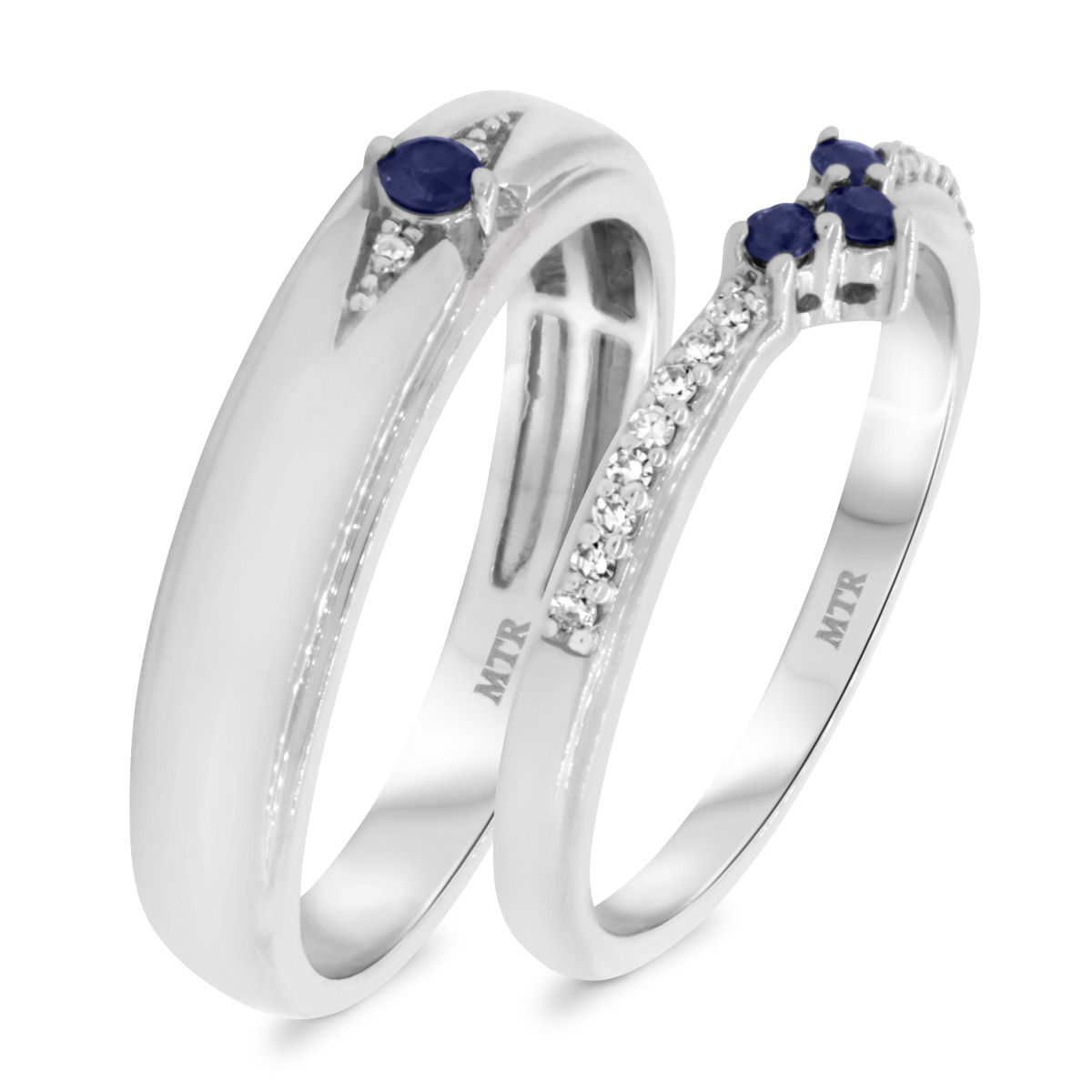 1/4 Carat T.W. Sapphire Matching Wedding Band Set 14K White Gold