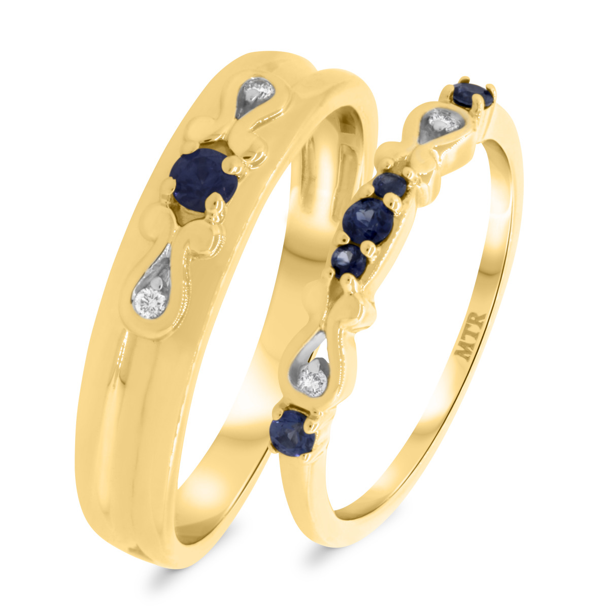 3/8 Carat T.W. Sapphire Matching Wedding Band Set 14K Yellow Gold