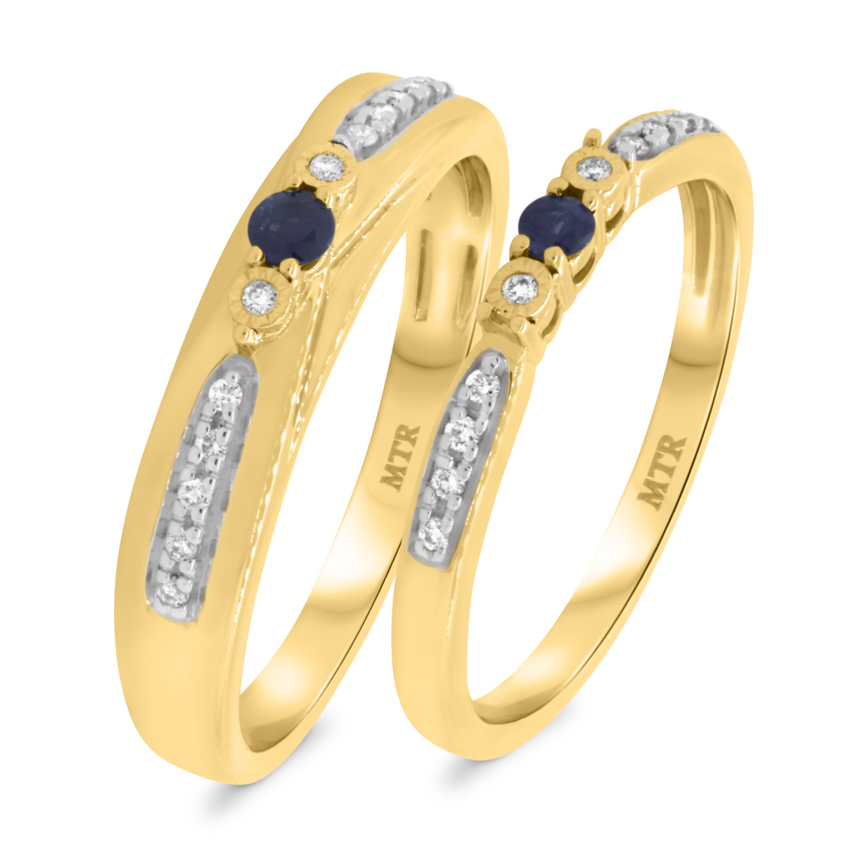1/3 CT. T.W. Sapphire Matching Wedding Band Set 10K Yellow Gold