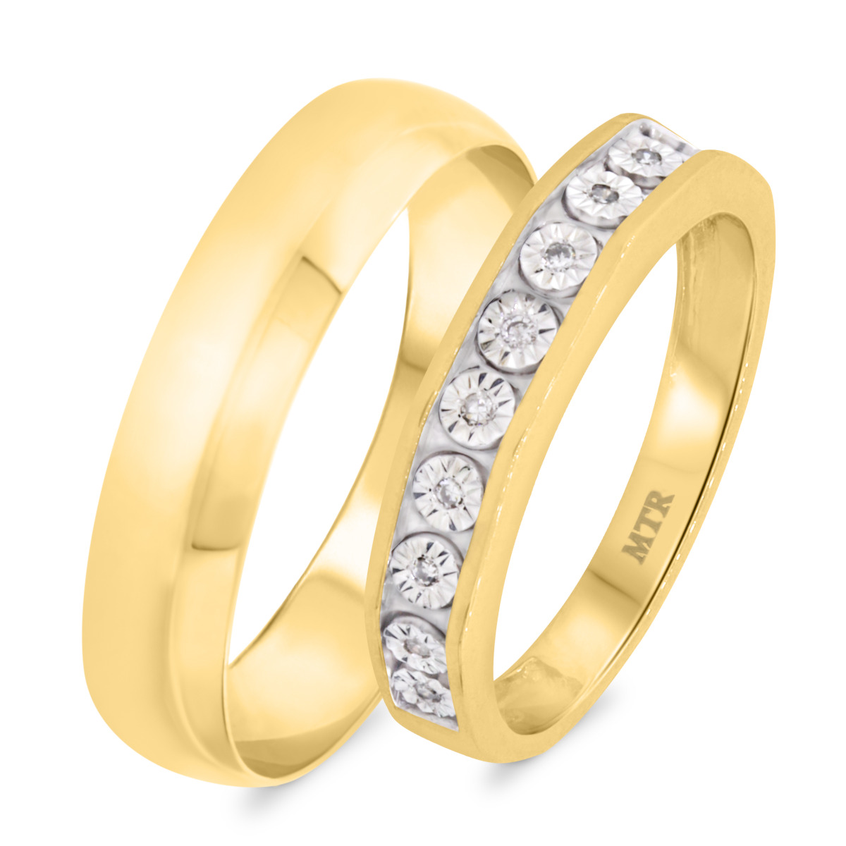 1/20 Carat T.W. Diamond Matching Wedding Band Set 10K Yellow Gold