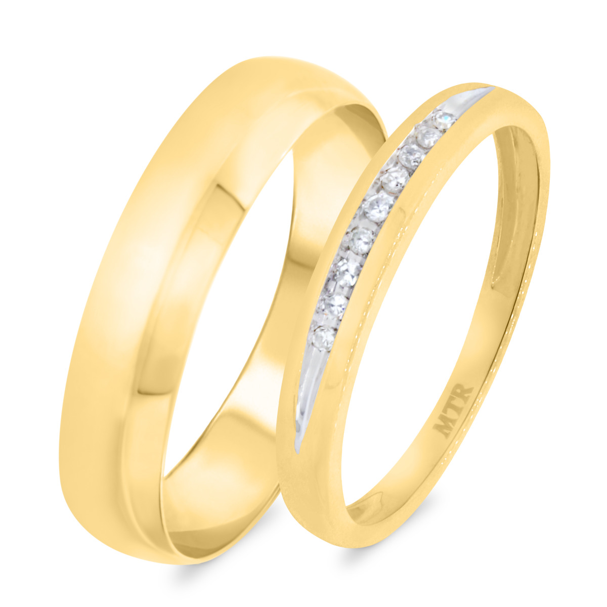 1/15 Carat T.W. Diamond Matching Wedding Band Set 10K Yellow Gold