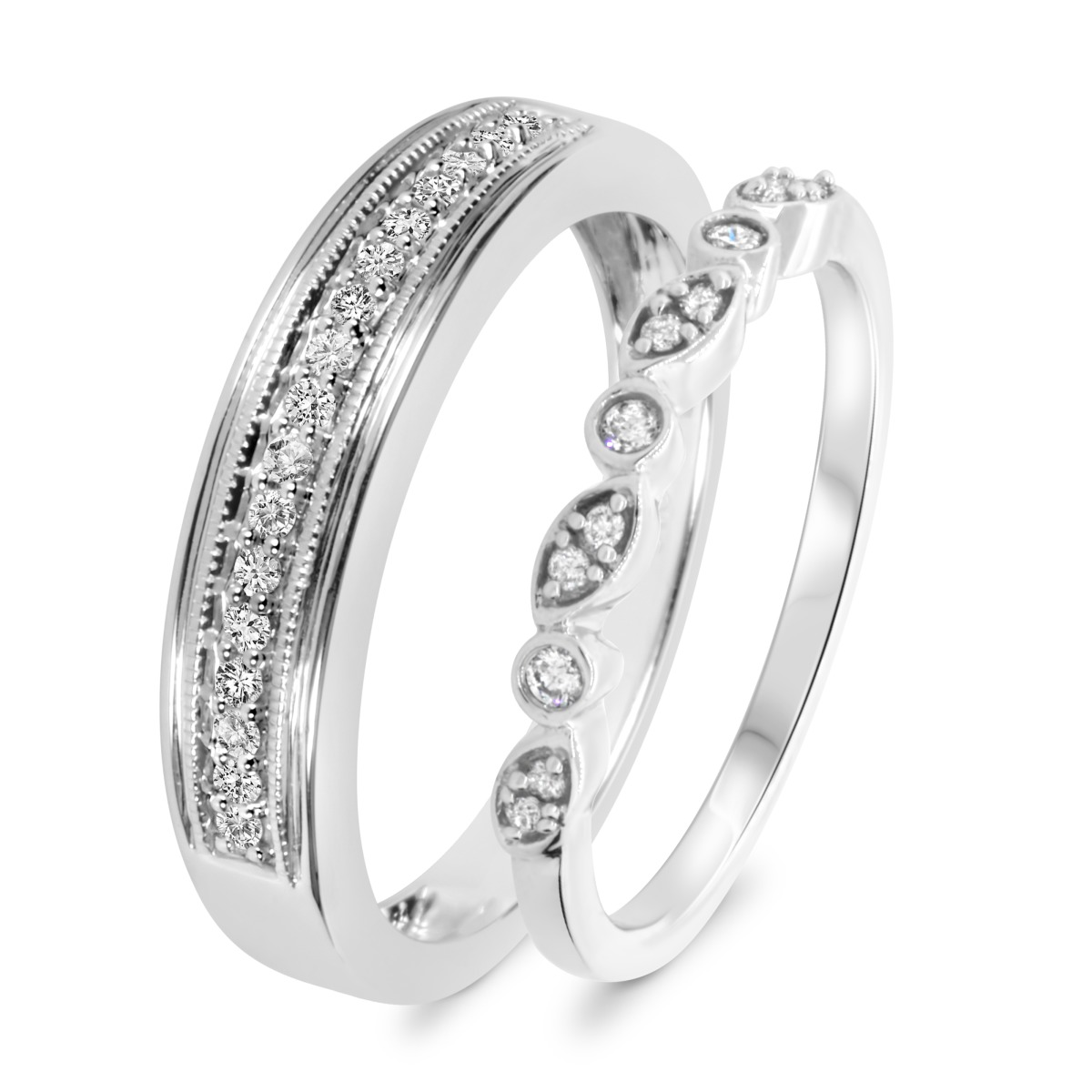2/3 Carat T.W. Diamond Matching Wedding Band Set 10K White Gold