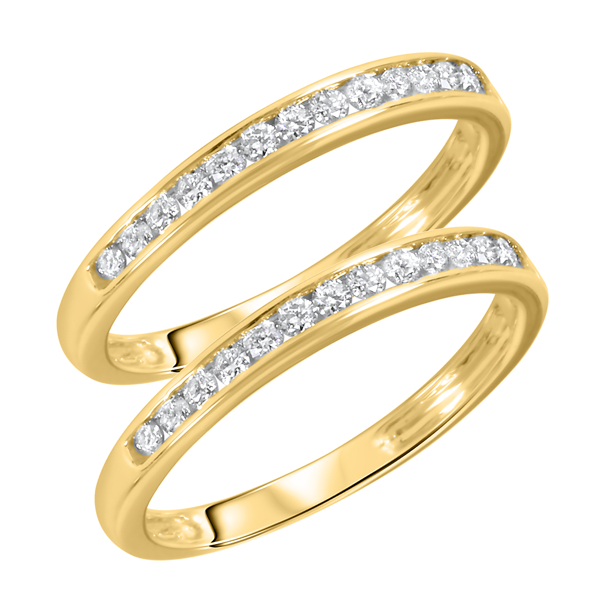 1/2 CT. T.W. Round Cut Ladies Same Sex Wedding Band Set 14K Yellow Gold