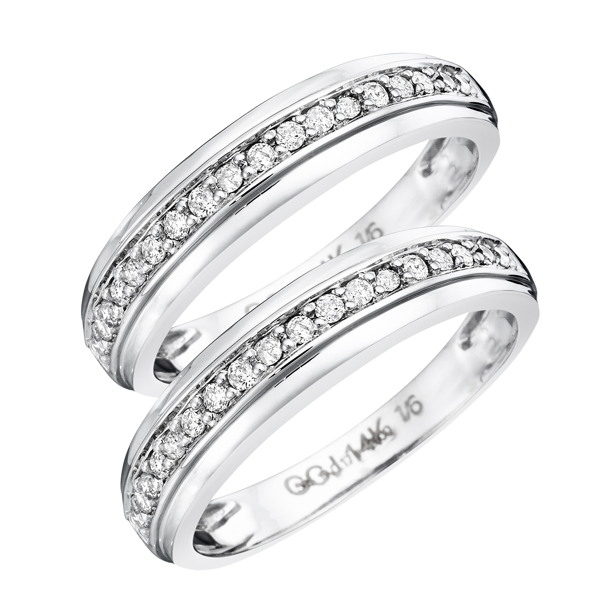 1/3 CT. T.W. Round Cut Ladies Same Sex Wedding Band Set 14K White Gold